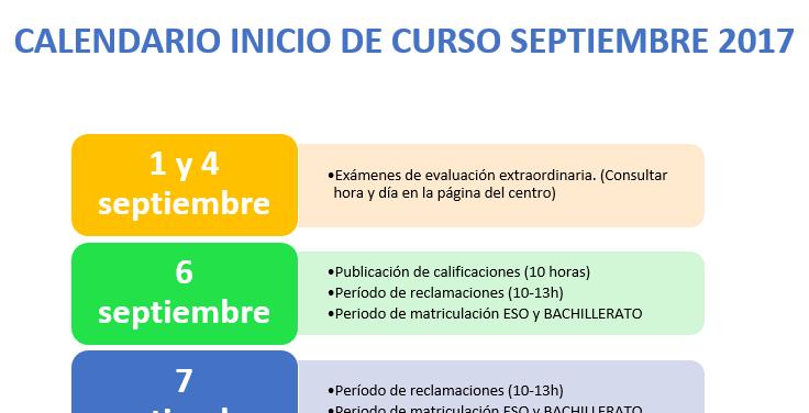 Imagen calendario inicio curso 2017